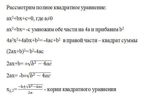 """Конспект урока по Алгебре """"Формула корней квадратного уравнения"""" 8 класс"""